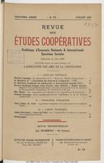 Revue des études coopératives. 75 (juillet 1946) - application/pdf